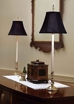 buffet lamps for dressing table.not these particular lamps but good idea Traditional Table Lamps, Traditional Lighting, Traditional Decor, Traditional House, Home Lighting, Lighting Design, Dressing Table Lamps, Buffet Table Lamps, Black Lamps