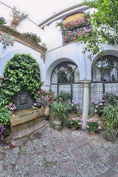 Patio de la calle San Basilio, 20.- Antigua casa de vecinos dividida en dos partes. Este patio se presentó por primera vez al concurso en el año 2004.