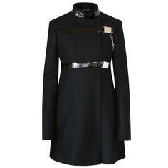 DAVID KOMA black wool leather strap and buckle pea coat jacket 8-US/12-UK NEW #DavidKoma #BasicCoat #Evening