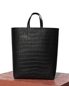 celine black exotic leathers handbag cabas