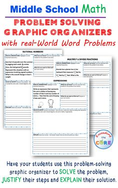 Middle School Math Problem Solving Graphic Organizers with a real-world word problems. Students must organize the information they are given, SOLVE the problem, JUSTIFY their work and EXPLAIN their solution.  Available for 6th grade math, 7th grade math, and 8th grade math. Perfect for math stations, math assessments and math exit tickets. Equations and Expressions (EE), Number System (NS) , Ratios and Proportional Reasoning (RP), Geometry (G),  Statistics and Probability (SP)