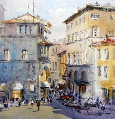 """Photo from album """"David Taylor"""" on Yandex. Abstract Watercolor Art, Watercolor Paintings, Watercolours, David Curtis, Street Painting, City Scene, Watercolor Techniques, Types Of Art, Painting Inspiration"""