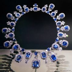 Sapphire and diamond Harry Winston Necklace..This exquisite necklace features 36 matched sapphires from Sri Lanka totaling 195 carats. Their deep sky-blue color contrasts brilliantly with a sparkling sea of 435 diamonds weighing 84 carats.