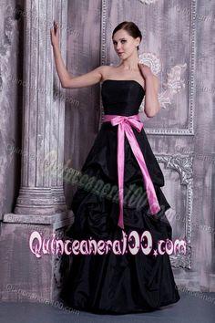 Popular Strapless Bridesmaid Dama Dresses with Sash and Pick-ups