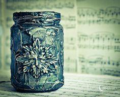 Green Man - Mixed Media Aged Jar - Altered Art - Green / Gold ...
