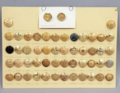 Antique-19c-Early-20c-Group-50-Brass-US-48-State-Army-Navy-Set-Uniform-Buttons