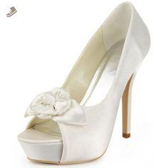 Elegantpark EP11091-IP Women Peep Toe Platform High Heel Flower Satin Wedding Bridal Shoes Ivory US 10 - Elegantpark pumps for women (*Amazon Partner-Link)