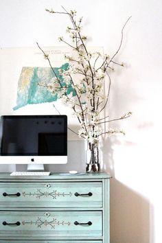eastlake dresser, cherry blossoms, map