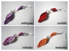 """Orecchini di carta (quilling) - modello """"pendente"""" / Paper earrings (quilling) - model """"pendant"""""""