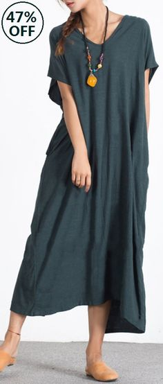 US$27.99 Only Plus Size Casual Pure Color Button Back Short Sleeve Loose Dresses For Women.Worldwide Shipping.Green,Blue,Wine Red and Black Colors For Options.Sizes From US 8 To US 20.#Newchic#Dresses#Casual#Women Fashion#Summer Dresses
