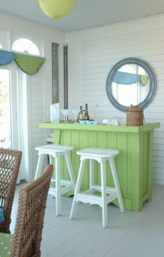 Outdoor Bar Ideas -The bar is one of the most common social aggregation . A tutorial on how to build your own DIY outdoor bar and stools from recycled pallets. Beach Cottage Style, Coastal Cottage, Cottage Homes, Beach House Decor, Coastal Living, Coastal Decor, Coastal Style, Coastal Entryway, Coastal Rugs