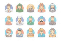 Flat People Cartoon Icons Set by painterr on @creativemarket