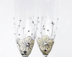 White Ice Flowers Champagne Flutes Hand painted Set of 2