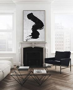Large abstract painting canvas art, vertical minimalist painting, minimal art, beige, black and white, FREE shipping. Ethan Hill Art No.H30E