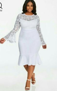 675c3a9511 Plus Size Bell Sleeve Floral Lace Top Crepe Skirt Dress. Mrs Martha · Ashley  Stewart