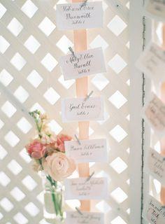 peach watercolor escort card display