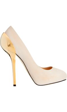 To pre-order or not? Giuseppe Zanotti Gold-Tone Heel Pump from @barneys
