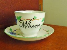 Whore hand painted vintage bone china teracup by trixiedelicious