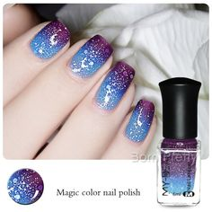 1 Bottle 6ml Color Changing Thermal Nail Polish Peel Off Varnish Dark Purple to Blue