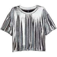 Metallic Top $14.99 (58 RON) found on Polyvore featuring women's fashion, tops, short sleeve jersey, short tops, metallic top, short jersey top and jersey top