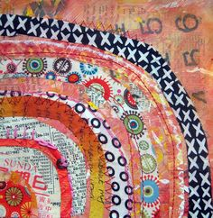 recycled circles by jane lafazio I like the use of newspaper and fabric together.  Would make a cool framed piece.