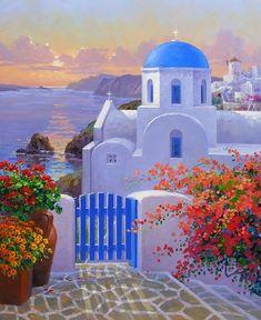 Резултат с изображение за Santorini painting