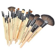 KUPOO Roll up Case Cosmetic Brushes Kits Makeup Brushes Tools_Beige *** You can find more details by visiting the image link.