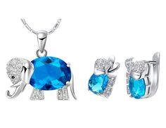 BLUE ELEPHANT SET Valentines Gift Pendant Necklace Made With SWAROVSKI CRYSTAL   eBay