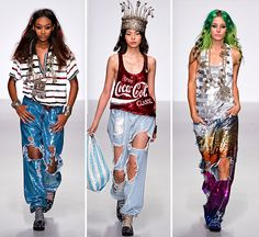 Ashish Gupta S/S 2014 mixed sequins with sportswear for his new spring collection. Torn jeans, hoodies, racer back vests, denim jackets, animal prints and colorful stripes were all totally covered in sequins.