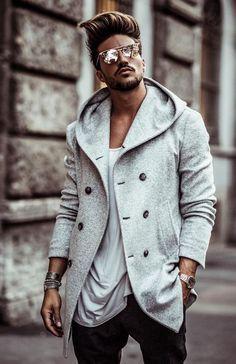 British Men's Hooded Wool Coat – Moda Stylish Coat, Stylish Men, Men Casual, Stylish Outfits, Hooded Wool Coat, Mens Wool Coats, Mode Masculine, Mein Style, Classy Men