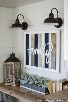 Navy, grey and white reclaimed wood family sign is perfect for any farmhouse decor! #FarmhouseLamp