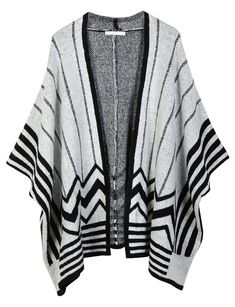 LE3NO Womens Midweight Zig Zag Striped Open Front Knit Poncho Cardigan