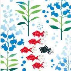 気音間 注染手拭い 水中金魚草