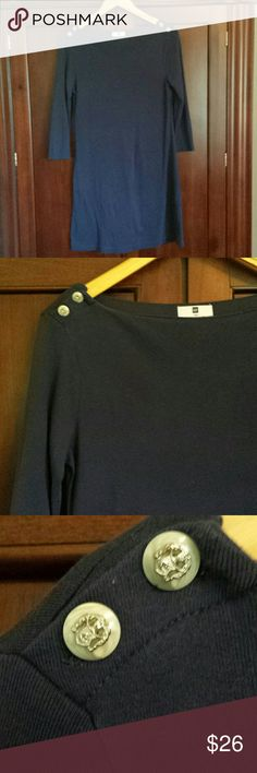 GAP Navy Shift Dress Classic navy dress perfect for work. Features a flattering boatneck neckline with adorable crest buttons. Very nautical and preppy! Gap Dresses Mini