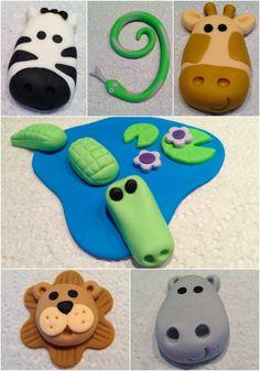 jungle fondant animals.  cupcake toppers