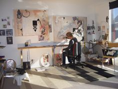 Jacqueline Macleod's studio in New Zealand is where she explores female identity within urban online existence. Visit www. Dance Studio, Art Studios, Artist At Work, Art World, New Zealand, Identity, Workshop, Urban, Artists