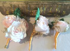 Blush paper Peony boutonniere and corsage with gold baby's breath and ribbon, Made in your choice of colors, Prom boutonniere and corsage - pinned by pin4etsy.com