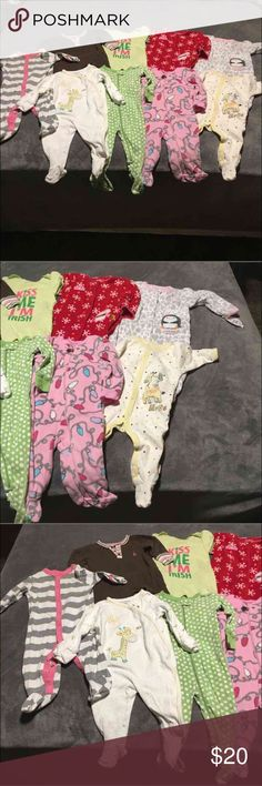 3-6 month pajamas 9 - sets of baby girl pajamas. Size 3-6 month. One pair brand new with tags and the rest worn but still have a lot of wear. Priced accordingly. Carter's Pajamas Pajama Sets