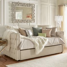 Features: -Upholstery fill: Polyurethane foam. -Nailhead trim silhouette and tuftings. Style (Old): -Traditional/Glam. Upholstery Color: -Beige. Frame Material: -Wood. Upholstery Material: -Line