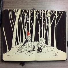 """Quickie for a sleepless night  #10 Over The Garden Wall  #art #fanart #overthegardenwall #cartoon #moleskine #inktober #inktober2015 #negativespace"""
