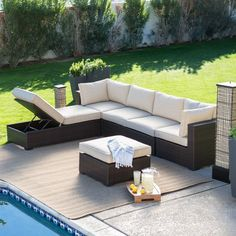 Endearing Inspiring Outdoor Sectional Sofa For Edge Garden Pool Using Synthetic Wicker Rattan L Shaped Sofa With Storage Under Cream Fabric Foam Boxed Seat And Cool Square Rattan Coffee Table, Top Quality Outdoor Sectional Sofa Ideas: Exterior, Furniture