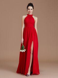 6db5d90c834 A-Line Princess Halter Sleeveless Ruched Floor-Length Chiffon Bridesmaid  Dresses