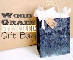 Wood Grain Stenciled Gift Bag