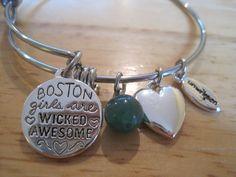 Inspirational~Unwritten~Sterling Silver Steel~I Love Boston Girl~Bangle Bracelet #Unwritten #Bangle