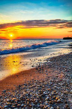 Sunrise Lake Michigan 004 Canvas Print / Canvas Art by Michael Bennett Beautiful Sunset, Beautiful World, Beautiful Places, Sunrise Lake, Lake Photography, Travel Photography, Lake Michigan, Michigan Usa, Great Lakes