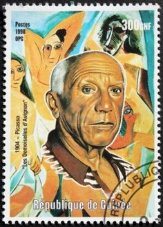 GUINEA - CIRCA 1998  A postage stamp shows image portrait of Spanish painter and sculptor Pablo Picasso who spent most of his life in France,