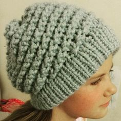Loom knitted slouchy beanie by @woolyobsessed