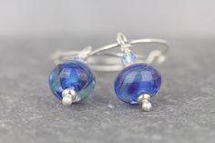 Glass and crystal earrings blue hoops by AmySquaredJewellery