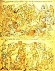 Medieval illustration of the Battle of Bannockburn fought in 1314