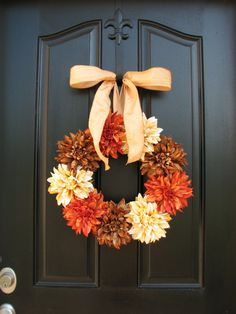 Autumn Spice Fall Autumn Wreaths Fall Decor Front by twoinspireyou. , via Etsy. Thanksgiving Decorations, Seasonal Decor, Holiday Decor, Autumn Wreaths, Holiday Wreaths, Wreath Fall, Homemade Door Wreaths, Hydrangea Wreath, Star Decorations